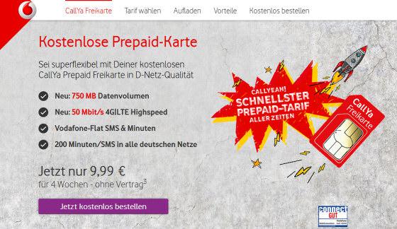 Callya Karte.Vodafone Callya Prepaid Freikarte Optional Mit 750 Mb Daten
