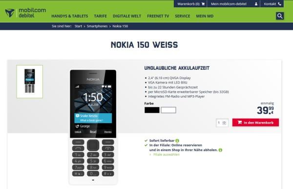 nokia 150 handy in deutschland erh ltlich. Black Bedroom Furniture Sets. Home Design Ideas