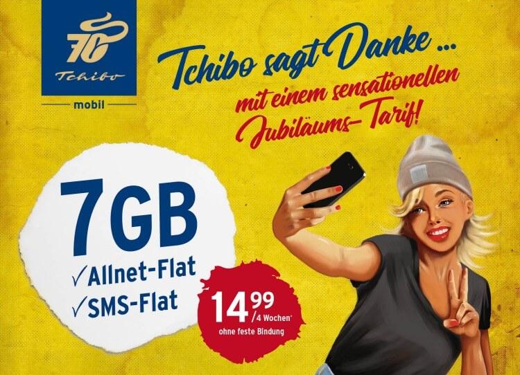 Tchibo Jubiläums Tarif mit 7 GB Daten für 14,99 Euro  tarif4you.de